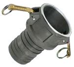 złącze kamlok żeńskie typ C (kamlock, camlock, camlok) wykonane ze stali nierdzewnej, do montażu przewodu przy pomocy opasek